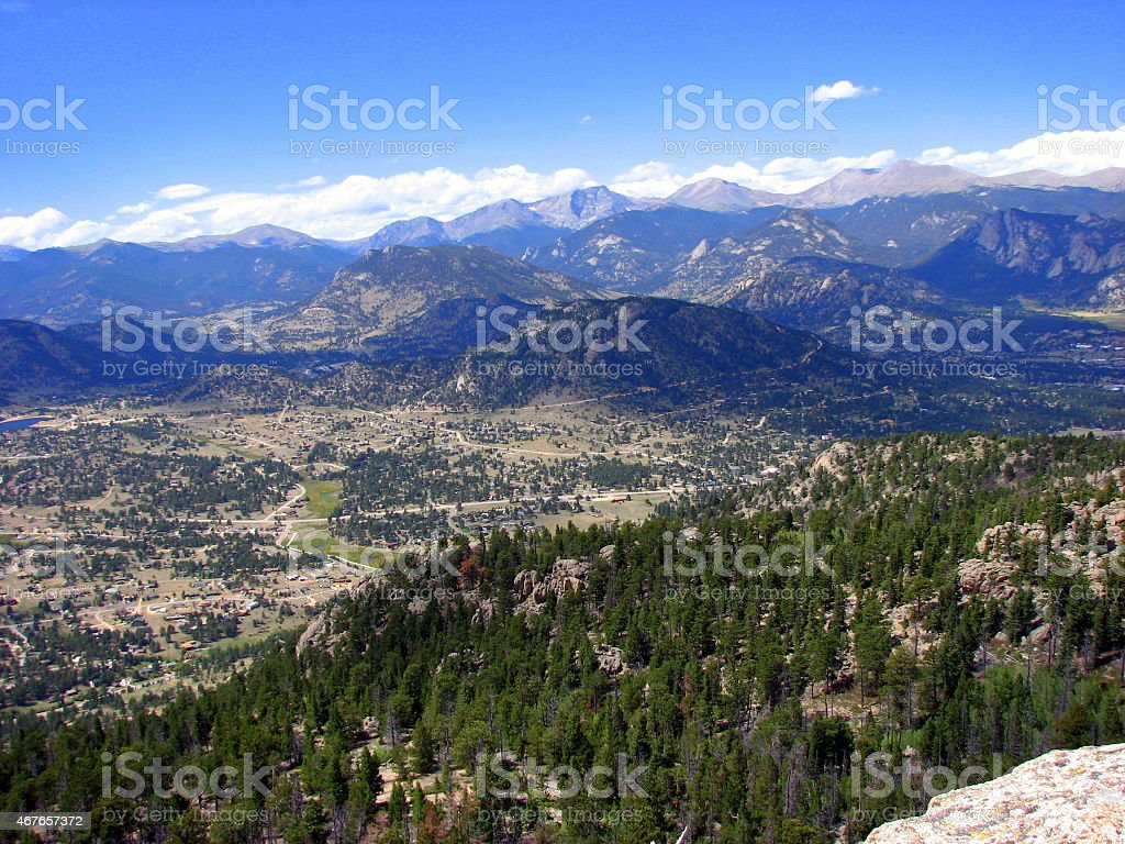 View of Estes Park from mountain view stock photo
