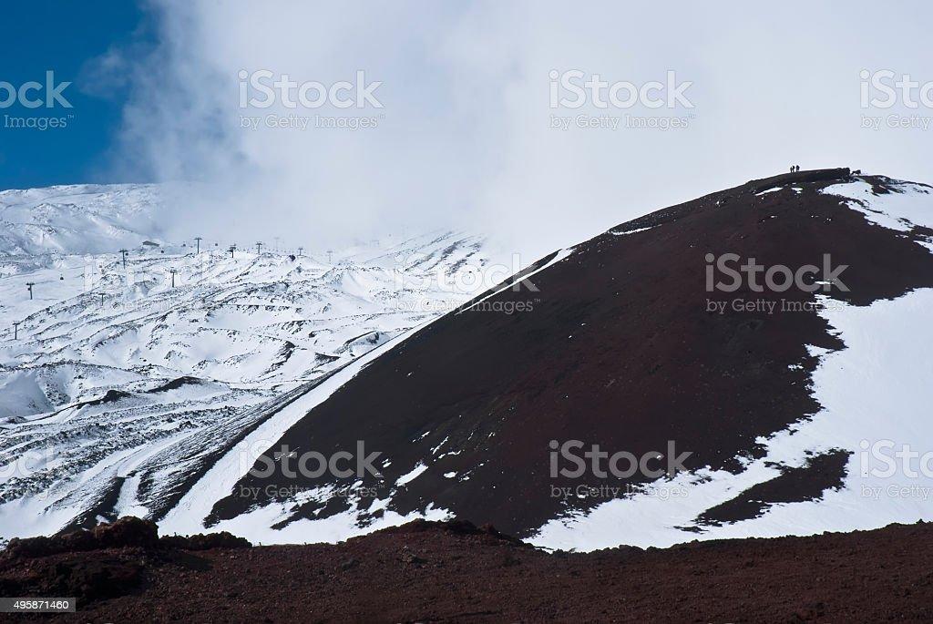 view of Etna volcano. stock photo
