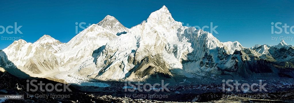 view of Everest and Nuptse from Kala Patthar stock photo