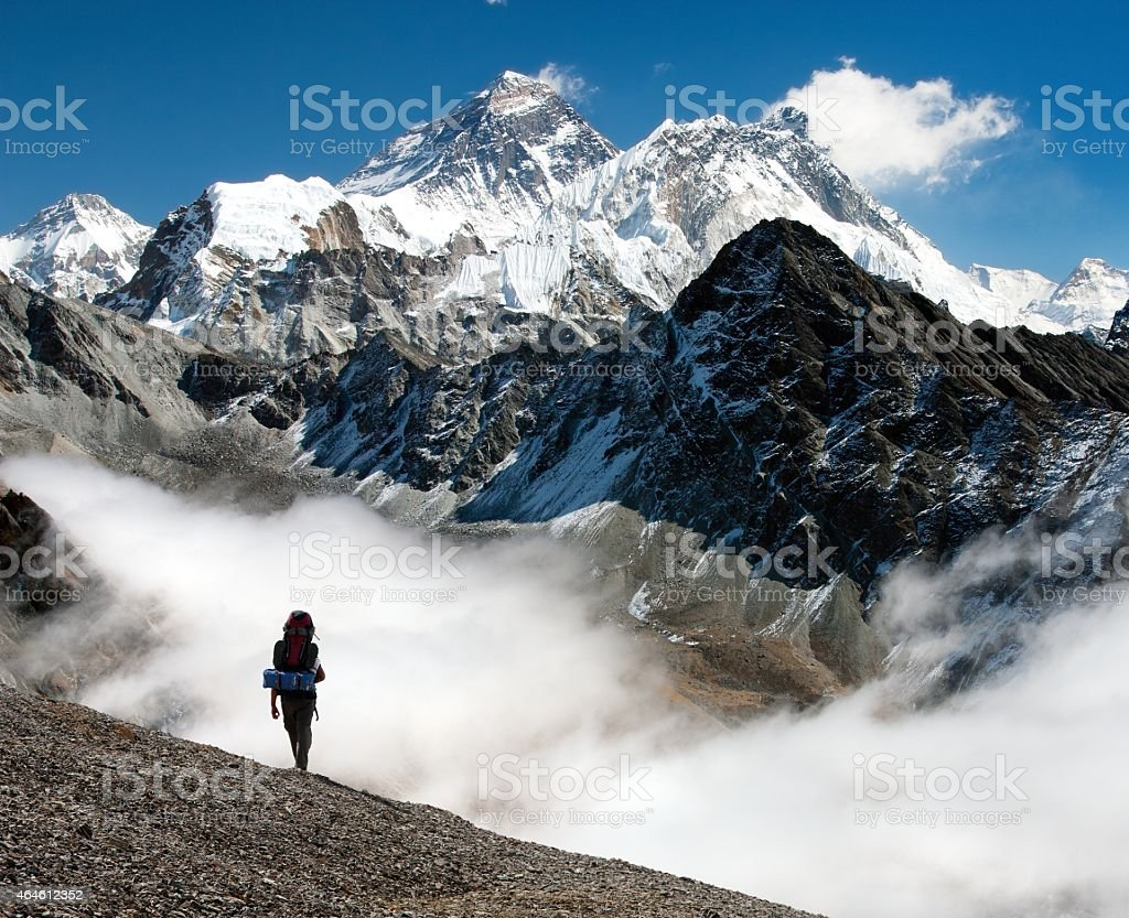 view of Everest from Gokyo stock photo