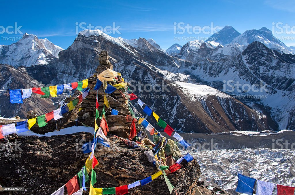 View of Everest from Gokyo ri . stock photo