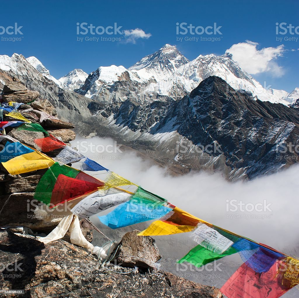 view of everest from gokyo ri stock photo