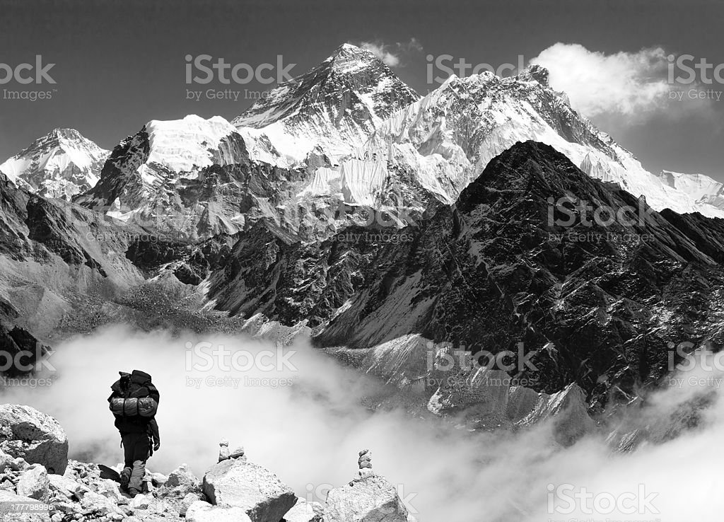 view of Everest from Gokyo with tourist royalty-free stock photo