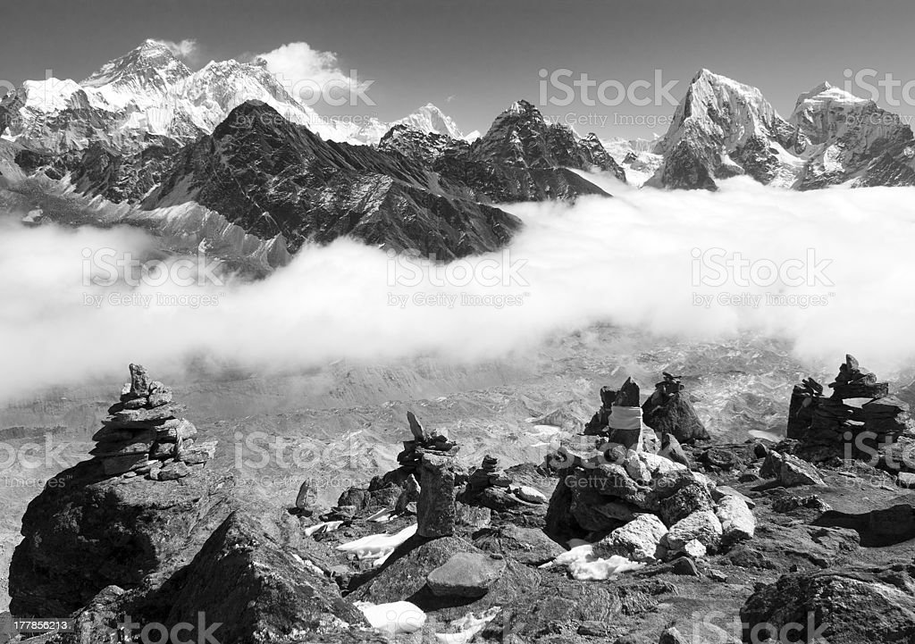 view of everest with stone mans from gokyo ri royalty-free stock photo