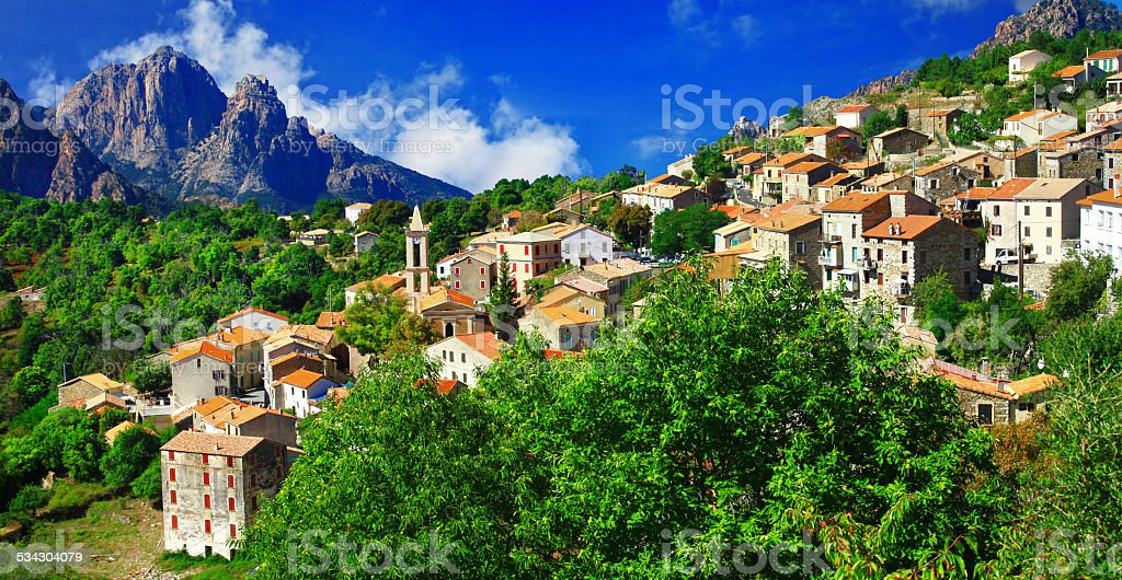 View of Evisa village,Corsica,France. stock photo