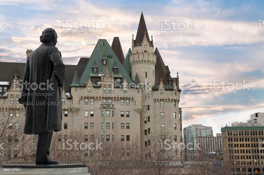 View of Fairmont Chateau Laurier from the Parliament Hill stock photo