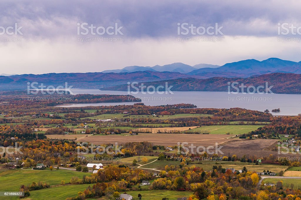 view of fall in the valley stock photo