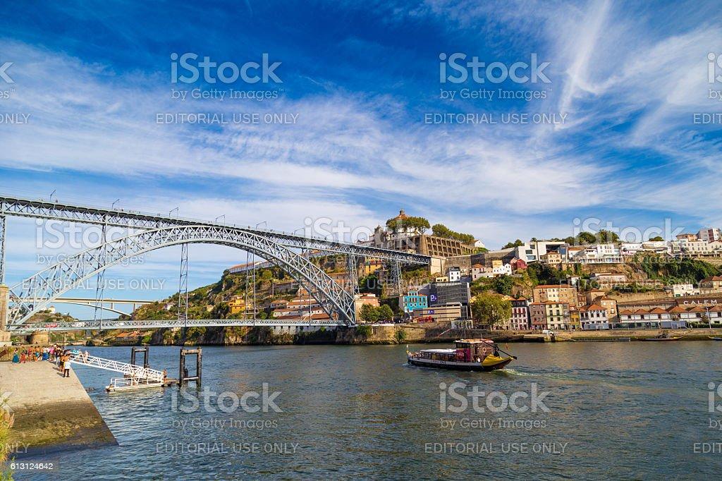 View of famous bridge Dom Louis I over Douro River stock photo