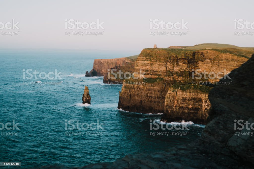 view of famous Cliffs of Moher and wild Atlantic Ocean, stock photo