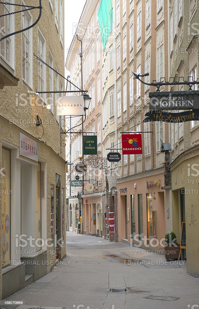 View of famous Getreidegasse street in Salzburg royalty-free stock photo