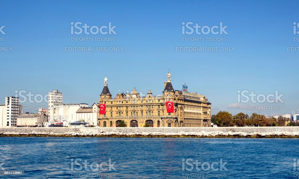 View of famous historical train terminal named Haydarpasa. Until 2012 the station was a major intercity, regional and commuter rail hub in Turkey. stock photo