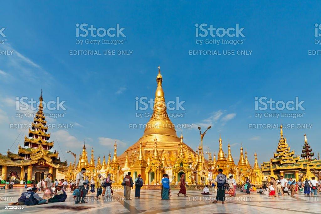 View of famous Myanmar pagoda Shwedagon in Yangon stock photo