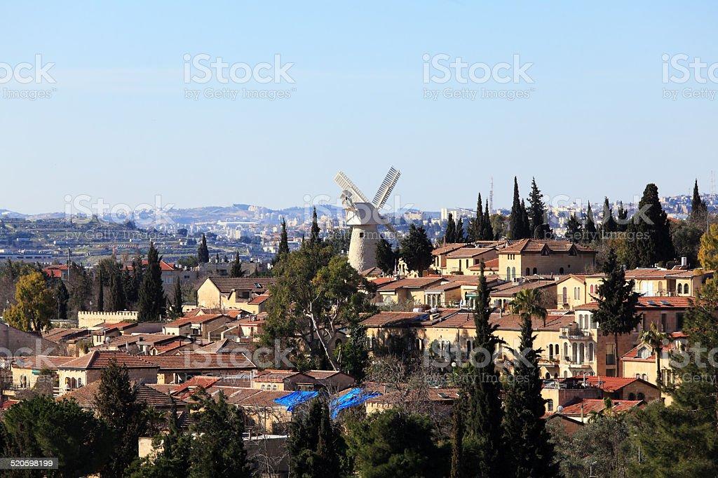 View of Famous Windmill, Jerusalem stock photo