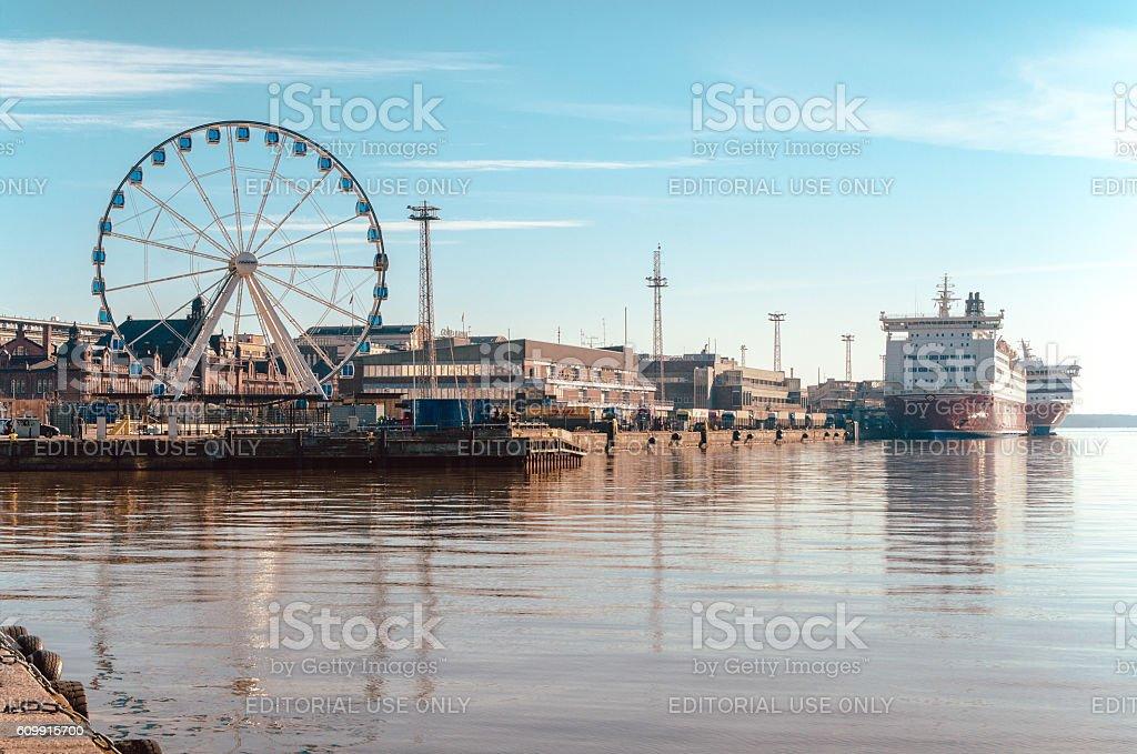 View of Ferris wheel, port and ferry in Helsinki Finland стоковое фото
