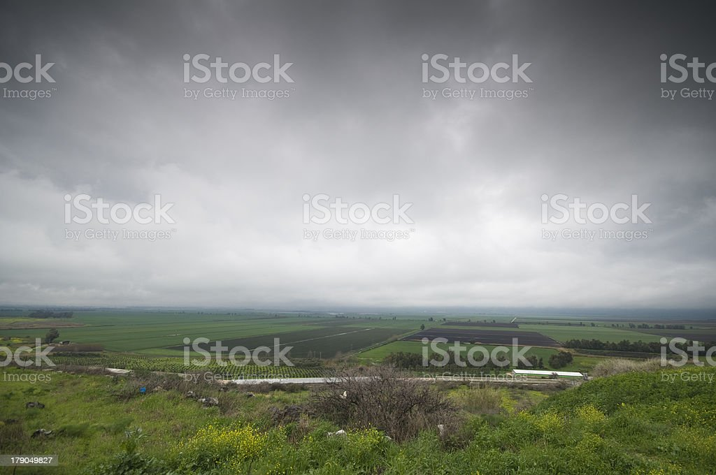 View of fields in Hula Valley from top of Golan Heights stock photo