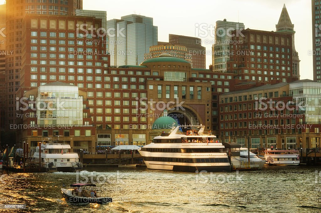 View of Financial District and Harbor in Boston, USA stock photo