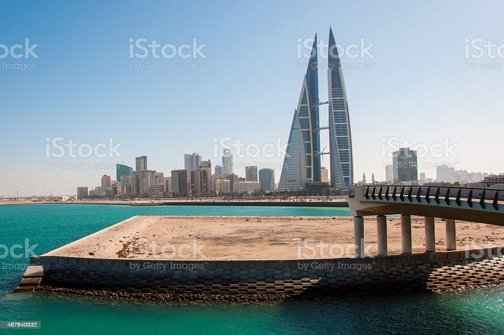 View of financial district of Manamah, Bahrain stock photo