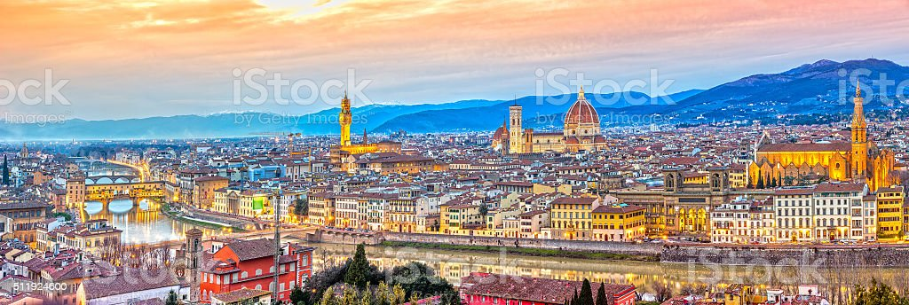 View of Firenze at sunset, Italy. stock photo