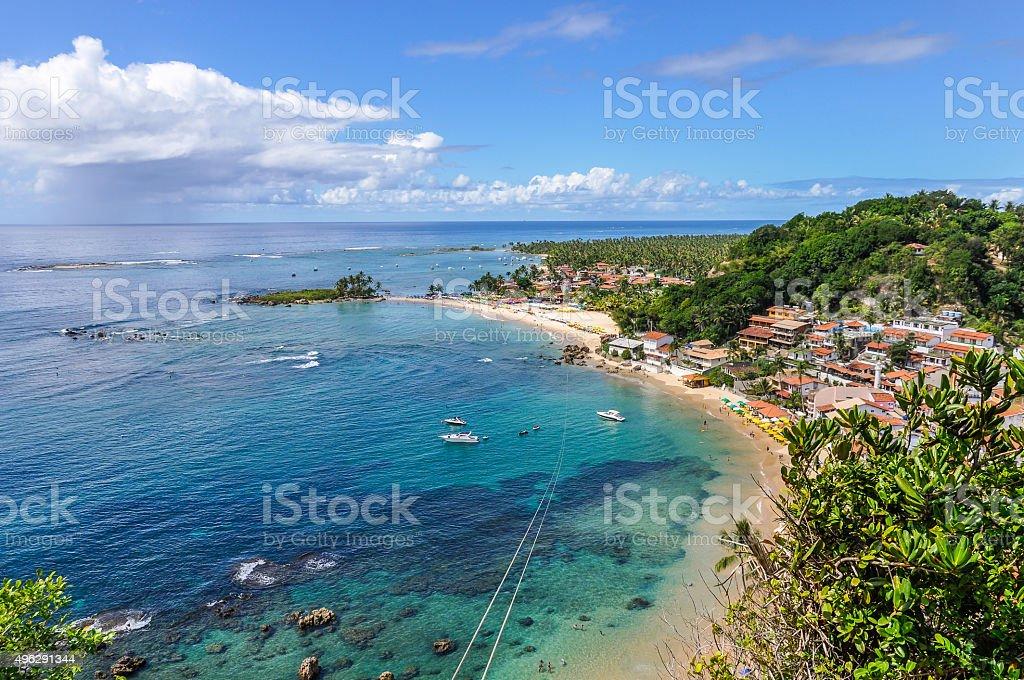 View of First beach in Morro de Sao Paulo, Brazil stock photo