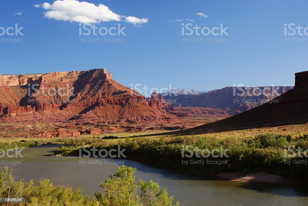 View of Fisher Towers and the Colorado River in Utah stock photo