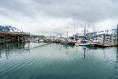 View of fishing boats moored at the port of Seward
