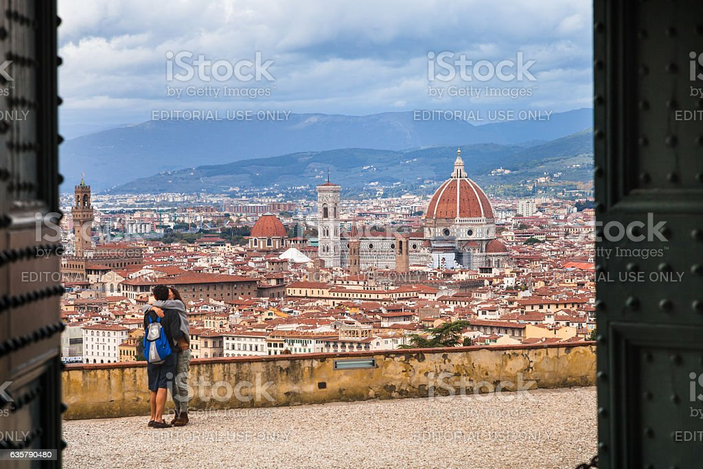 view of Florence city through gate of Basilica stock photo