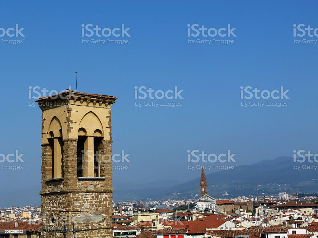 View of Florence from the rooftops, Italy stock photo