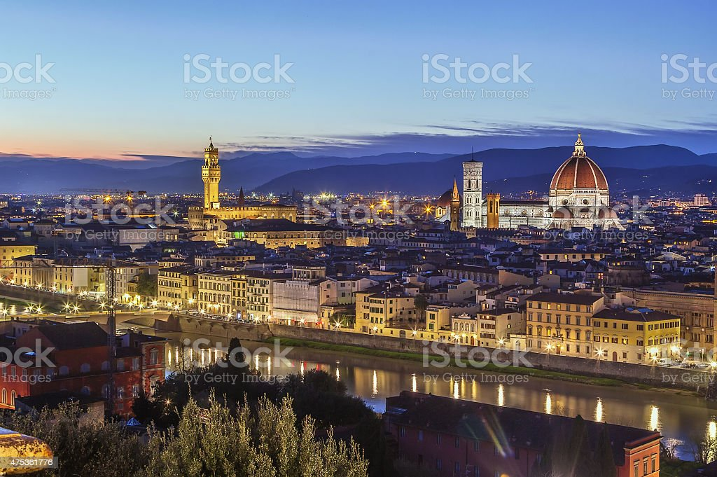 view of Florence in evening, Italy stock photo