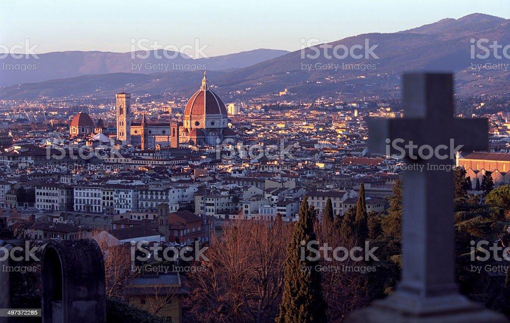 View of Florence- San Miniato al Monte - Italian landmark stock photo