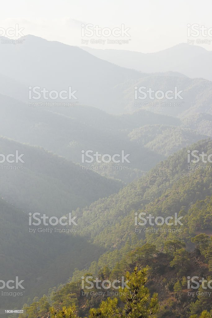view of foggy early morningTroodos cypriate mountains  Cyprus stock photo