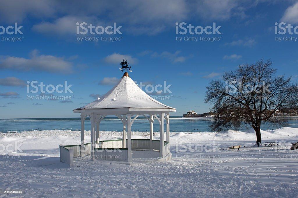 View of Fort Niagara and pagoda, Niagara on the Lake stock photo