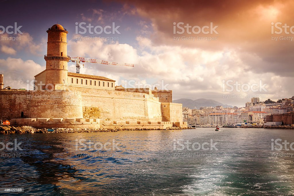 view of Fort St. Jean and the city of Marseille stock photo