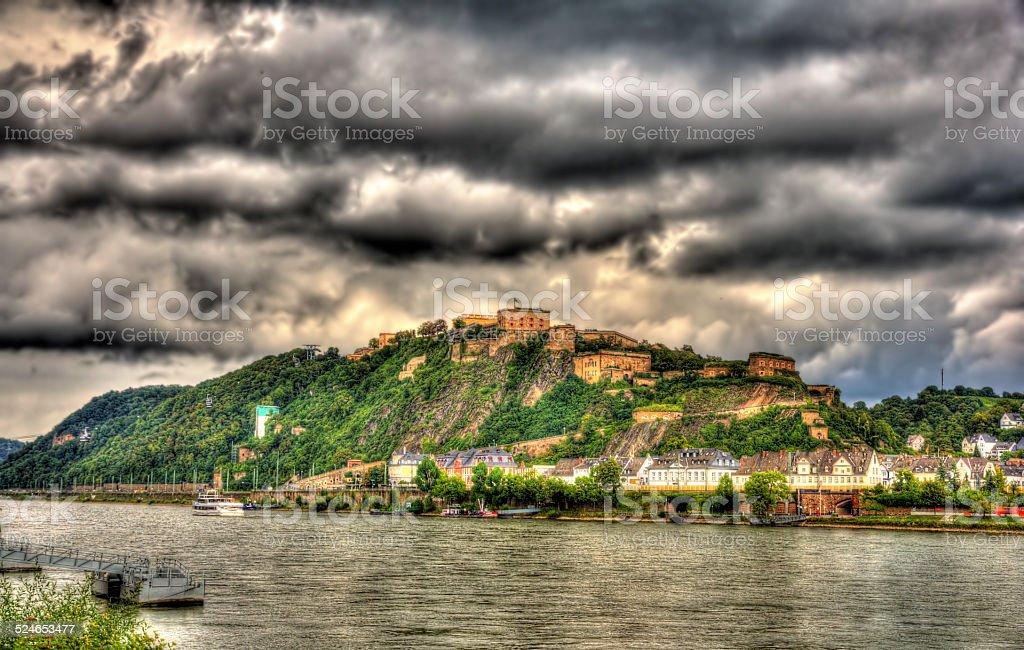 View of Fortress Ehrenbreitstein in Koblenz, Germany stock photo