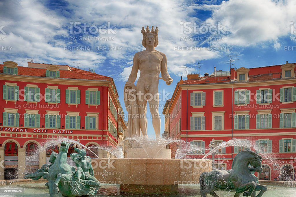 view of fountain Fontaine du Soleil at the Place Massena stock photo