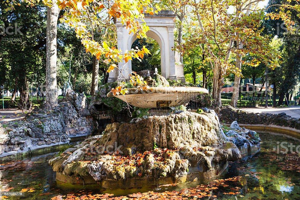 view of fountain in Villa Borghese public gardens stock photo