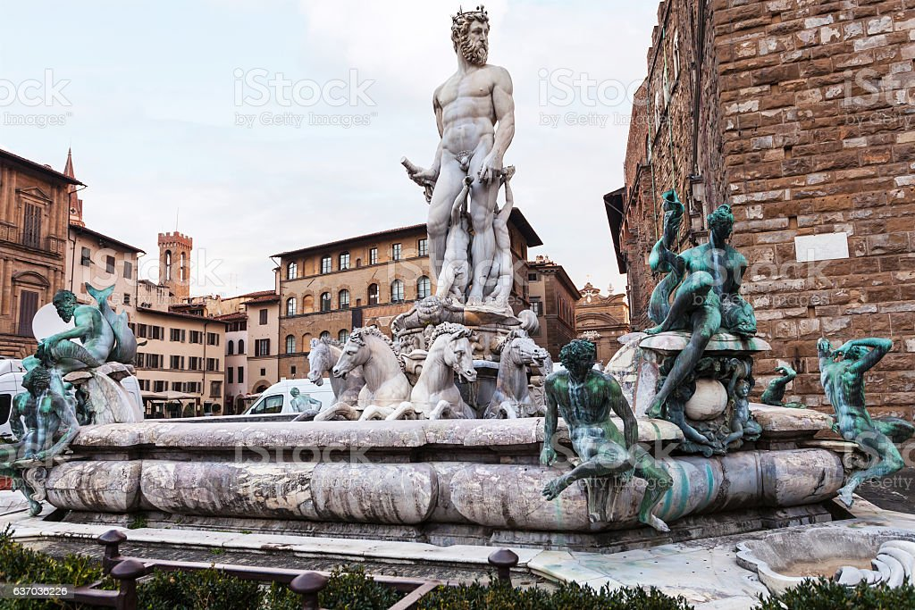view of Fountain of Neptune in morning stock photo