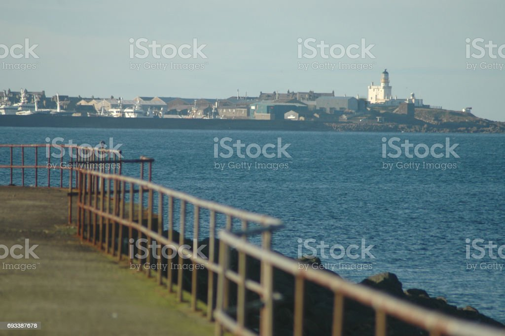 View of Fraserburgh from Cairnbulg Harbour, Scotland stock photo
