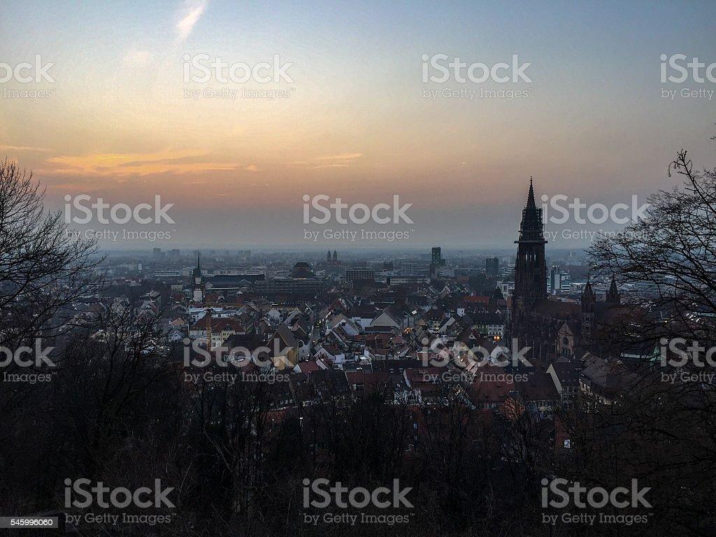 View of Freiburg im Breisgau after sunset stock photo