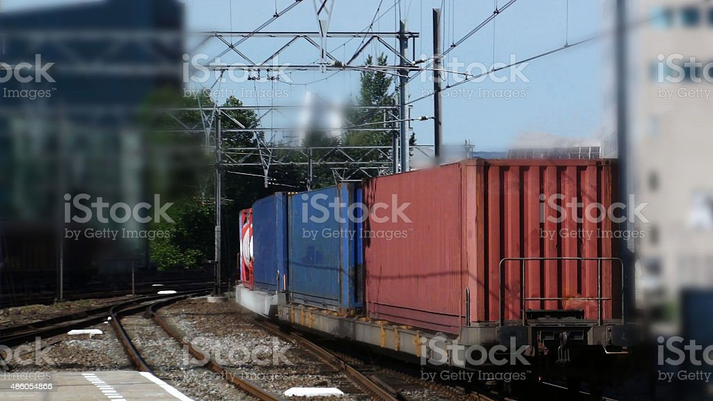 View Of Freight Train With Containers On The Railroad Track stock photo