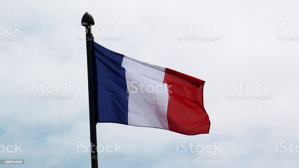 View Of French Flag Waving In Paris France,Europe stock photo