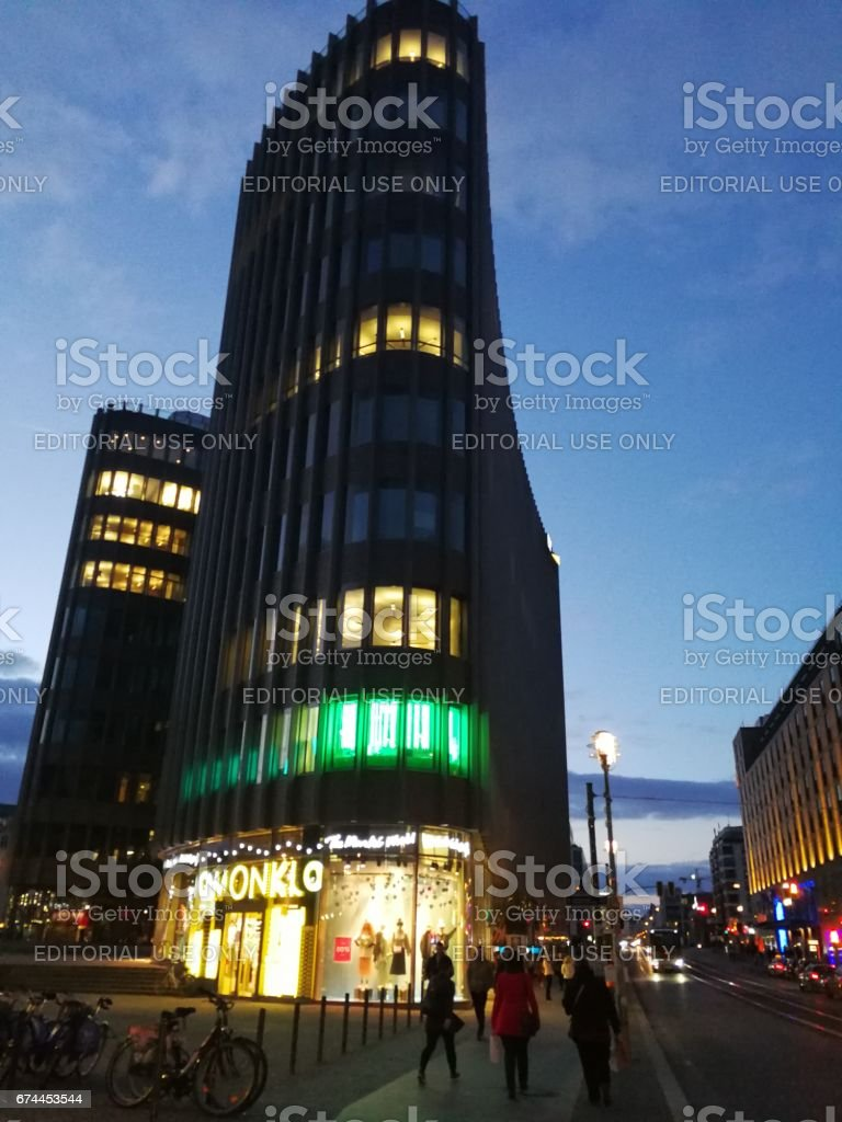 view of Friedrichstrasse at night stock photo