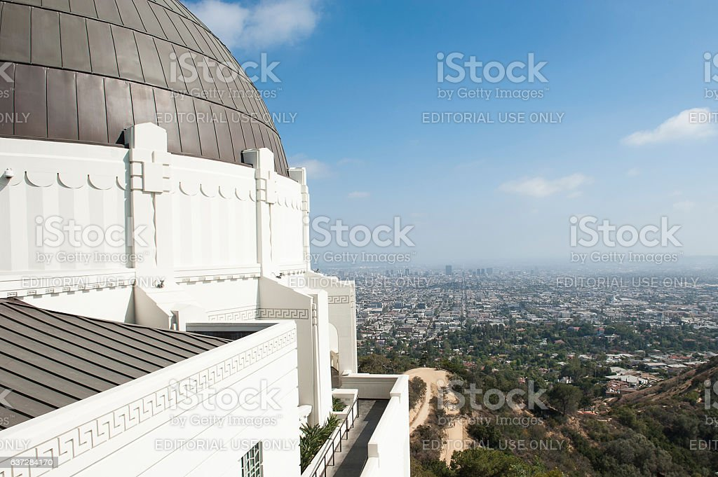 View of LA from the Griffith Observatory stock photo