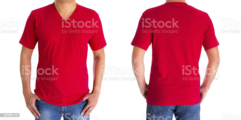 View of front and back view of man in red t-shirt stock photo