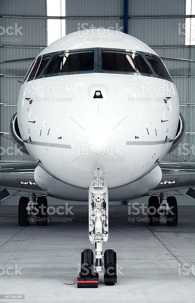View of front nose of a small private passenger jet airplane stock photo