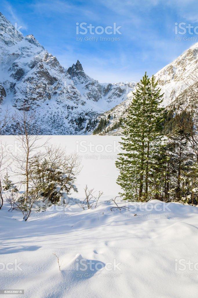 View of frozen Morskie Oko lake in winter, Tatra Mountains, Poland stock photo