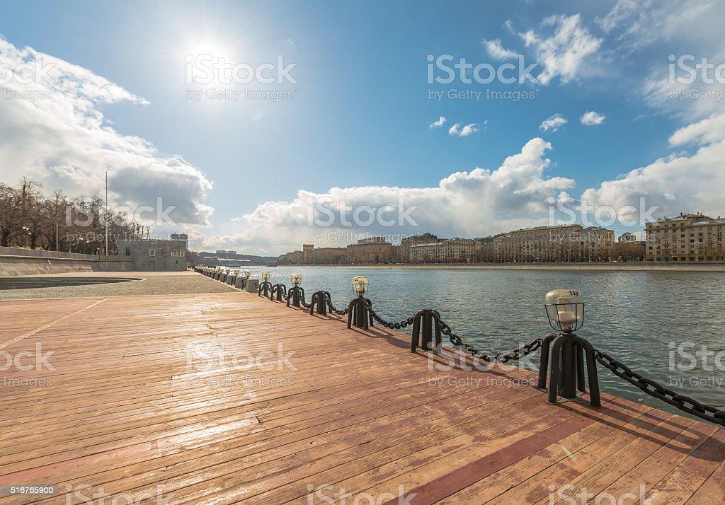 View of Frunze embankment in Moscow. stock photo