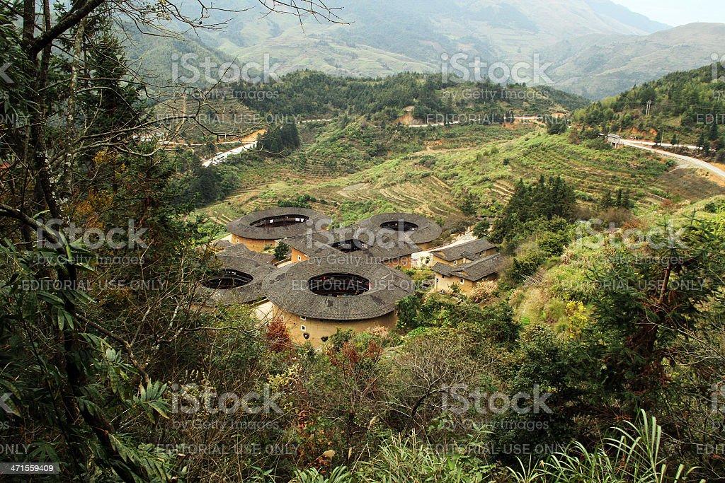 Vista di Fujian Earthen strutture, Cina foto stock royalty-free