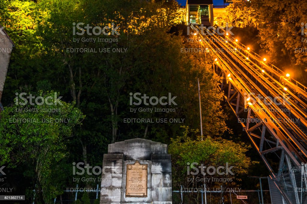 View of Funicular from lower old town at night stock photo
