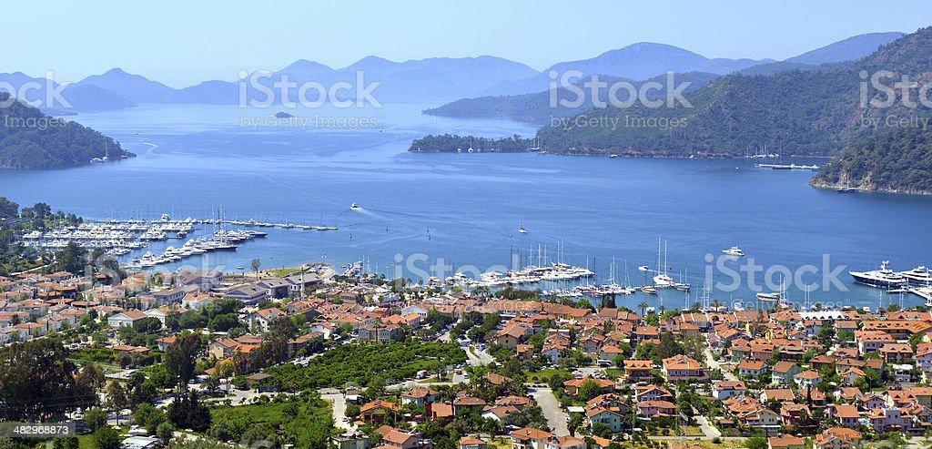 View of Göcek, Fethiye, Turkey. stock photo