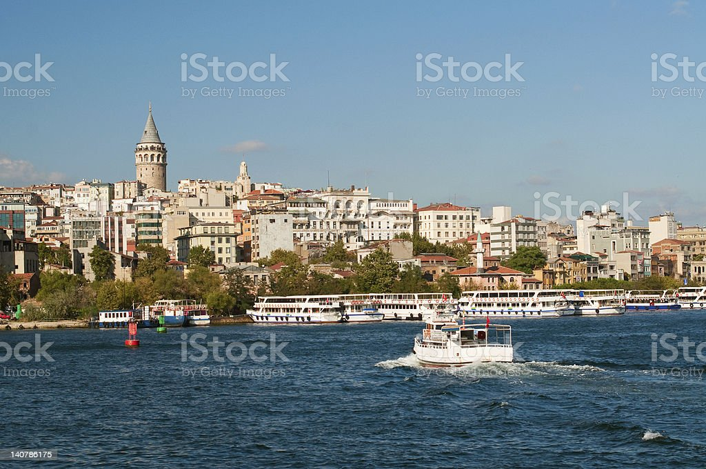 View of Galata tower from Bosporus. Istanbul stock photo